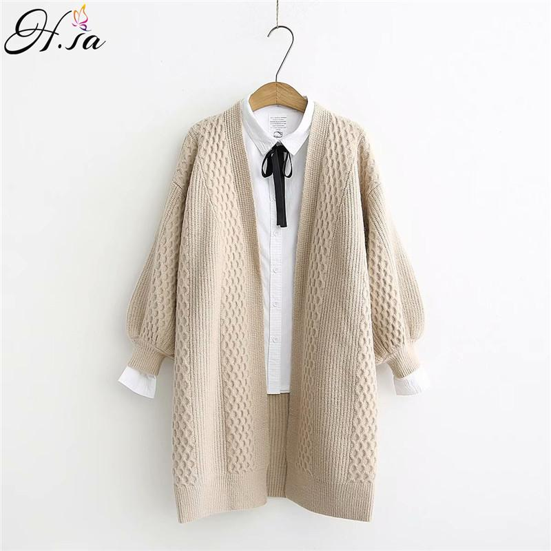 H.SA Spring Sweater Cardigans Women V neck Lantern Sleeve Open Stitch Loose Sweater Jacket Cheap Clothes Female Knit Coat 200928