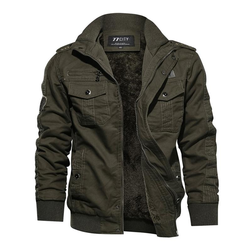 Plus Size Exército Verde Manga Longa Stand Collar Militar Casual Homens Preto Goth Jacket Coat Y201026