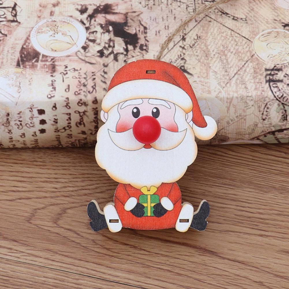 Festival a mano ciondolo appeso ornamento Illuminato scherza il regalo sveglio di albero di Natale Props Crafts partito Batteria legno Powered kGNF #