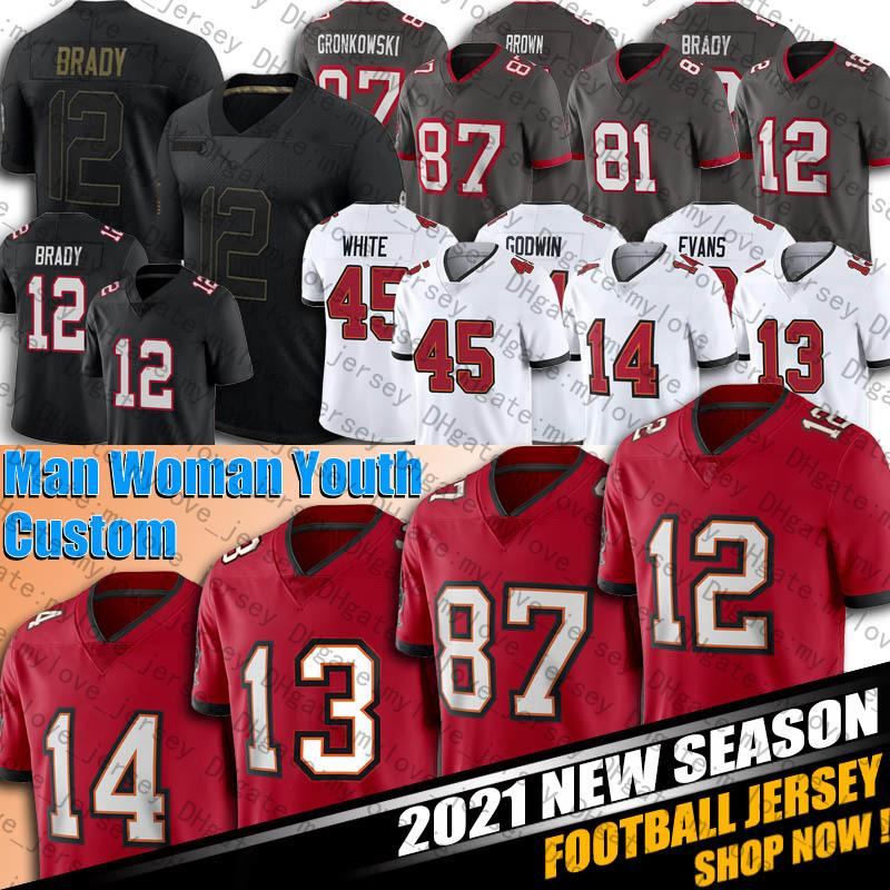 12 Tom Brady Jersey Leonard Fournette Mike Evans Devin Devin Jerseys Branco Carlton Davis Chris Godwin Rob Gronkowski Winfield Jr Football Jersey