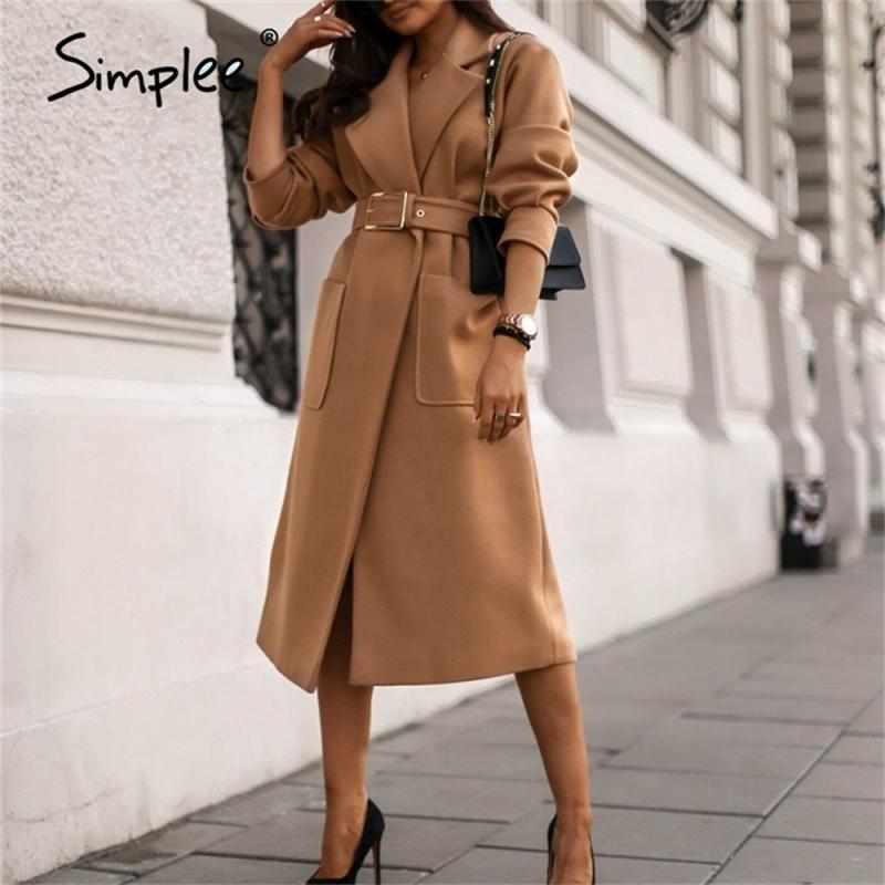 Simplee Office Lady Deve Sonbahar Kış Kadın Yün Ceket Yüksek Sokak Moda Uzun Kollu Ceket Zarif Cep Dış Giyim Kemer Ile 201214