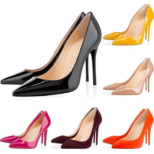 Superiore delle donne scarpe rosse Bottoms Tacchi alti punta aguzza sexy Sole 8 centimetri 10 centimetri 12 centimetri Pompe Vieni sacchetti di polvere scarpe da sposa taglia 36-42
