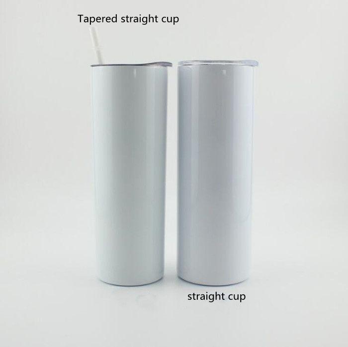 Sublimation DIY Cups 20 Unzen Schwarz Weiß Dünne Tasse mit Deckel Stroh 20 Unzen Edelstahl Trinkbecher Vakuum isoliert Becher LXL1424-1