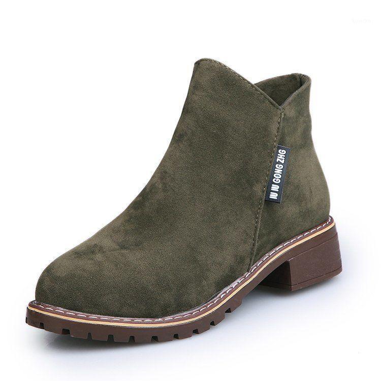 Große größe 35-42 harajuku stil frauen knöchel stiefel runde spitze reißverschluss damen stiefel gummi weibliche niedrige heels1