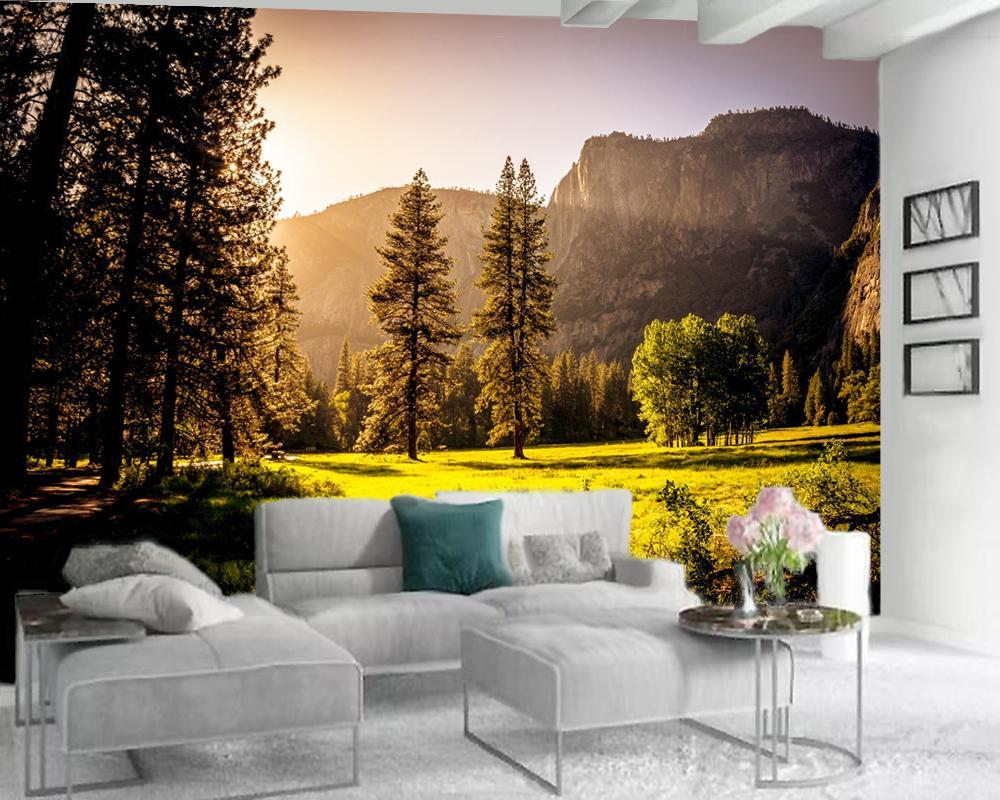 3d обои Гостиная Современные фотообои 3d обои Романтическая Осенний лес Пейзаж Пользовательские 3D фото обои Home Decor
