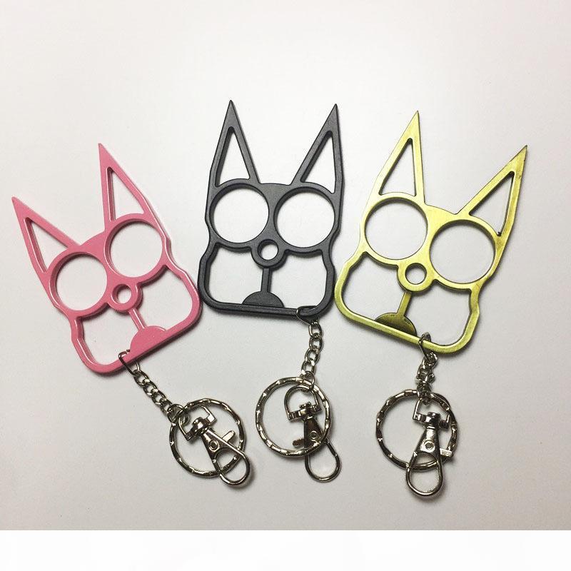 Mode Nette Katze Keychain Selbstverteidigungswerkzeug Zwei Fingerverschluss mit Schlüsselanhänger Selbstverteidigungsbedarf Fensterbrecher
