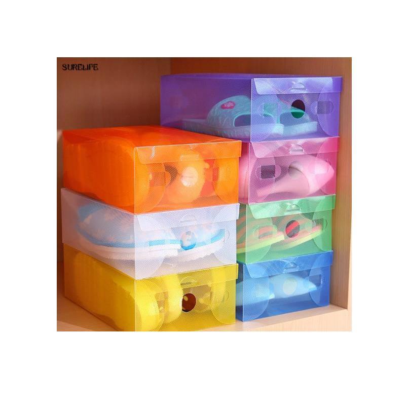 5 pcs crianças / mulheres / homens limpar sapatos de plástico caixa de armazenamento caixa de gaveta dobrável para mulheres sapatos o bbywor