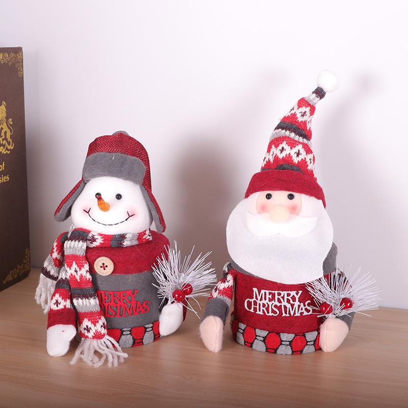 Рождественский подарок Санта-Клаус снеговика конфеты коробка подарок банку кукла кукла рабочего стола крышка украшение шкатулке Новогоднее украшение дропшиппинг F9301