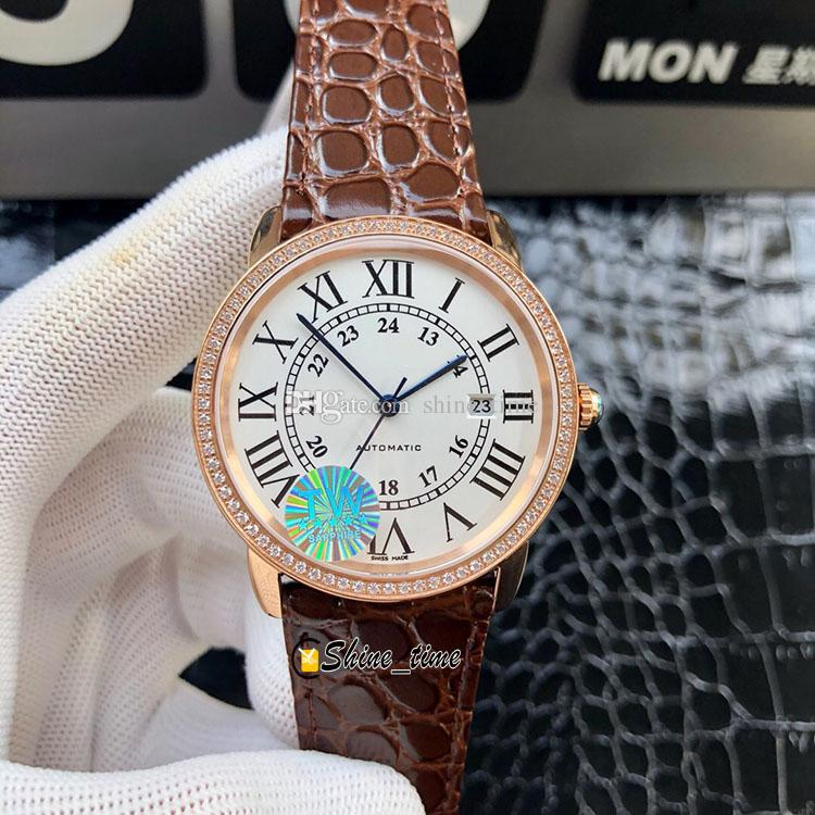 Новая новая версия 42 мм белый циферблат золотой 316L чехол из нержавеющей стали W2RN0008 мужские часы 9015 автоматический механический кожаный ремешок