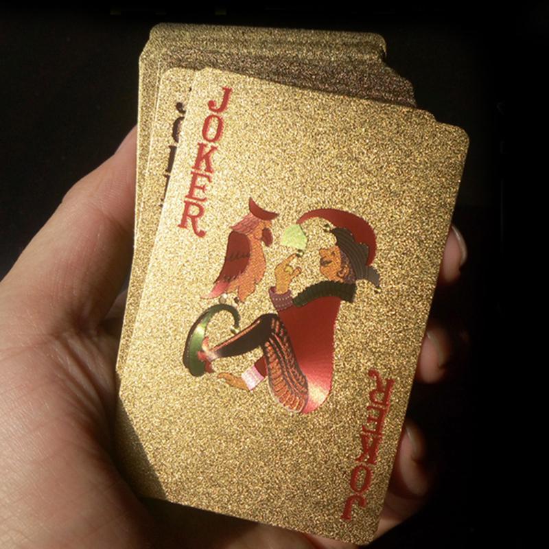 24K Cartes à jouer Jeu de poker Set plate-forme feuille d'or Poker Carte Magie plastique Cartes Magie étanche Jugando A Las Cartas