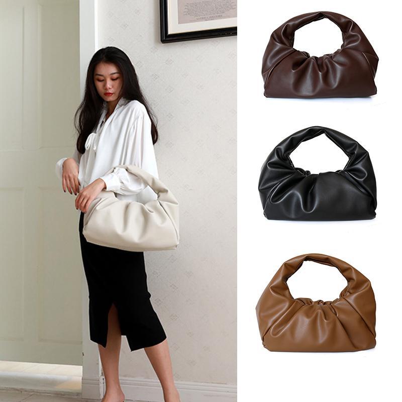 40CM The Shoulder Pouch High Quality Designer Ladies Handbags and Purses Soft PU Leather Handbag for Women 2020 Burgundy Bag Q1107