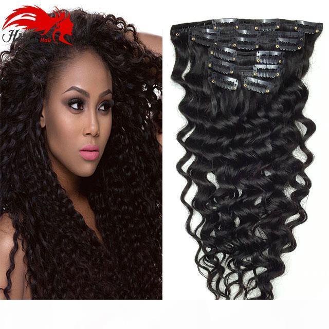 Hannah Product Curly Clip en extensiones de cabello Pelo natural Pinza africano americano en extensiones de cabello humano 120 g 7pcs Set Clip Ins