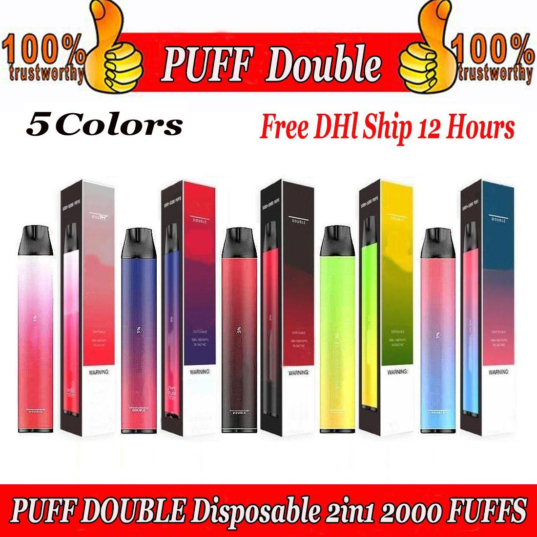 Neue Puff-Doppel-Einweg-2in1-Pod 2000Puffs-Patrone 900mAh-Batterie 6.0ml VAPE-Pods tragbarer Verdampfer leeres Kit vs Puff Bar plus XXL