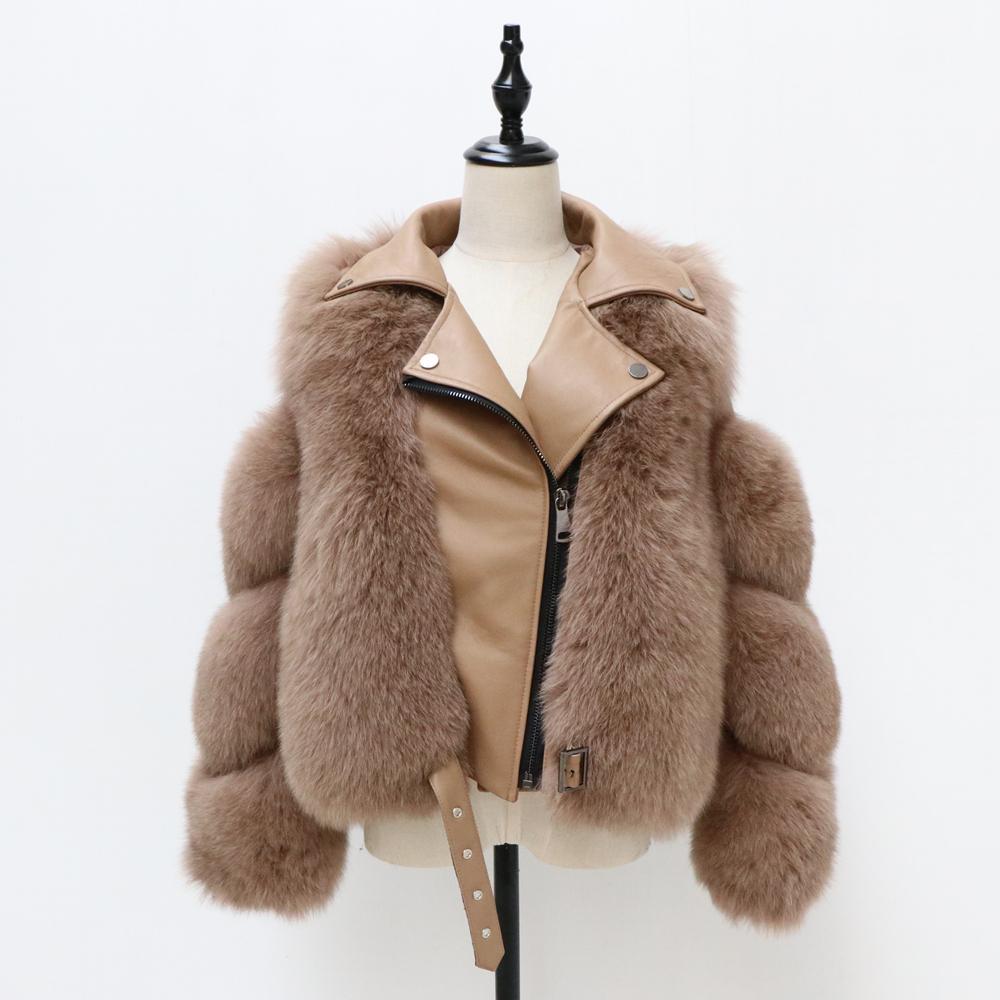 2020 capa de la manera Escudo corto real mujeres de la piel natural de la piel de Fox abrigos de invierno Ropa de invierno caliente CoatX1018