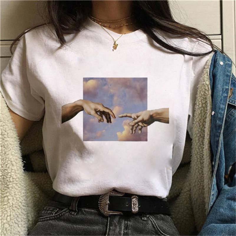 New Michelangelo Divertido Tshirt Tshirt Mujeres Grunge Estético Impresión de la mano Tshirt Gráfico Tshirt Casual Top Tizles Femenino