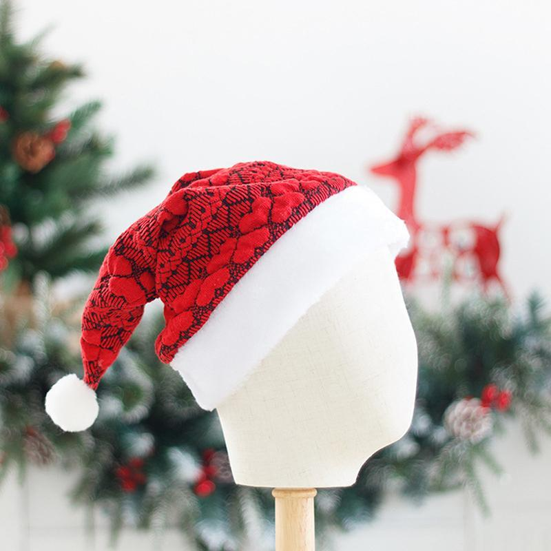 New Year Thick Knitted Christmas Hat Kids Christmas Decoration Santa Hat Red Adult