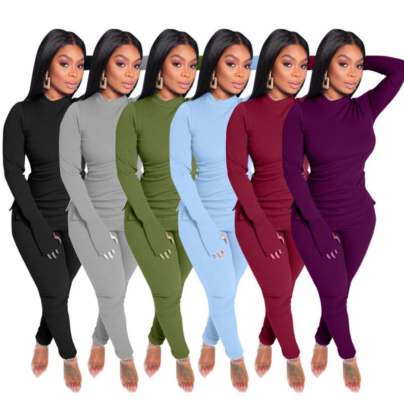 Women Two Pieces Outfits Slim Solid Colour Small High Collar Pullover Tops And Pants Set Ladies New Fashion Casual Plus Size Tracksuits 2020