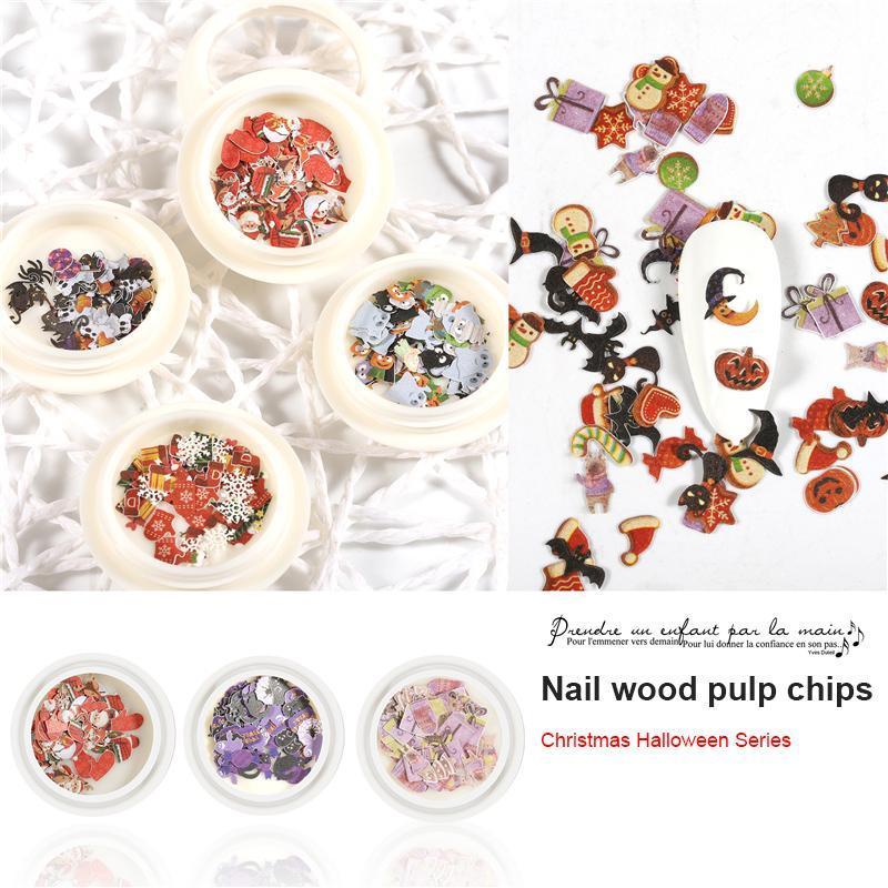 Decor Nail Art 1Pcs Natal Adesivo Decalque Snowflake fantasma da abóbora polpa de madeira Pedaço etiqueta DIY para manicure