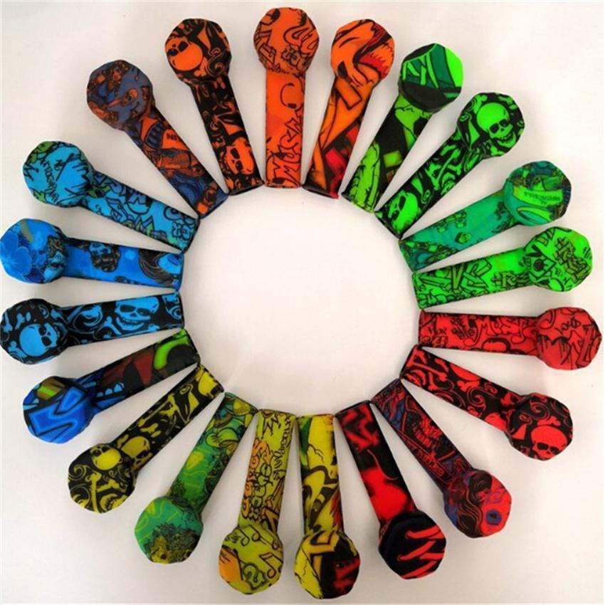 파이프 실리콘 흡연 다채로운 낙서 실리콘 파이프 실리콘 스테인레스 스틸 볼 실리콘 핸드 파이프 도구를 흡연 담배 파이프 연기