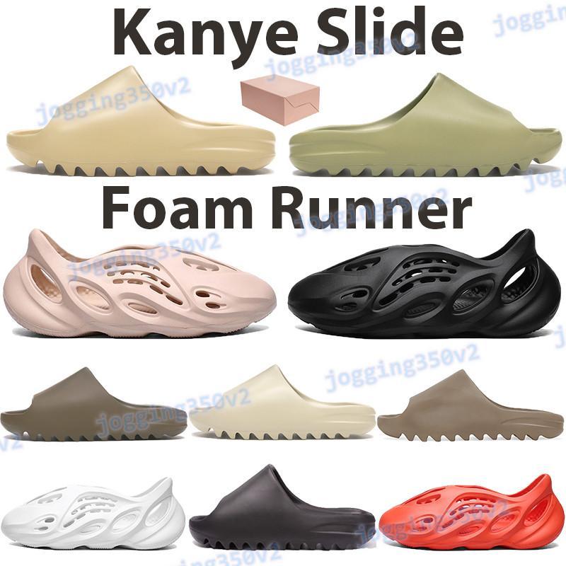 2021 Kanye diapositive uomini donne scarpe di sabbia del deserto di resina marrone terra schiuma fuliggine corridore tripla nero rosso arancio spiaggia bianca sandali pantofole da uomo