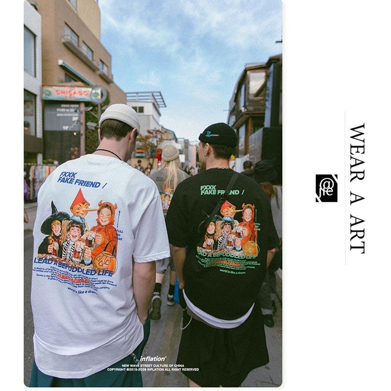 Erkekler Bayan Tasarımcı T Shirt Moda Gelgit Marka Retro Eğlenceli Karikatür Kişilik Baskılı Gevşek T-shirt Erkekler Lüks Tee Sıcak Satış Tops