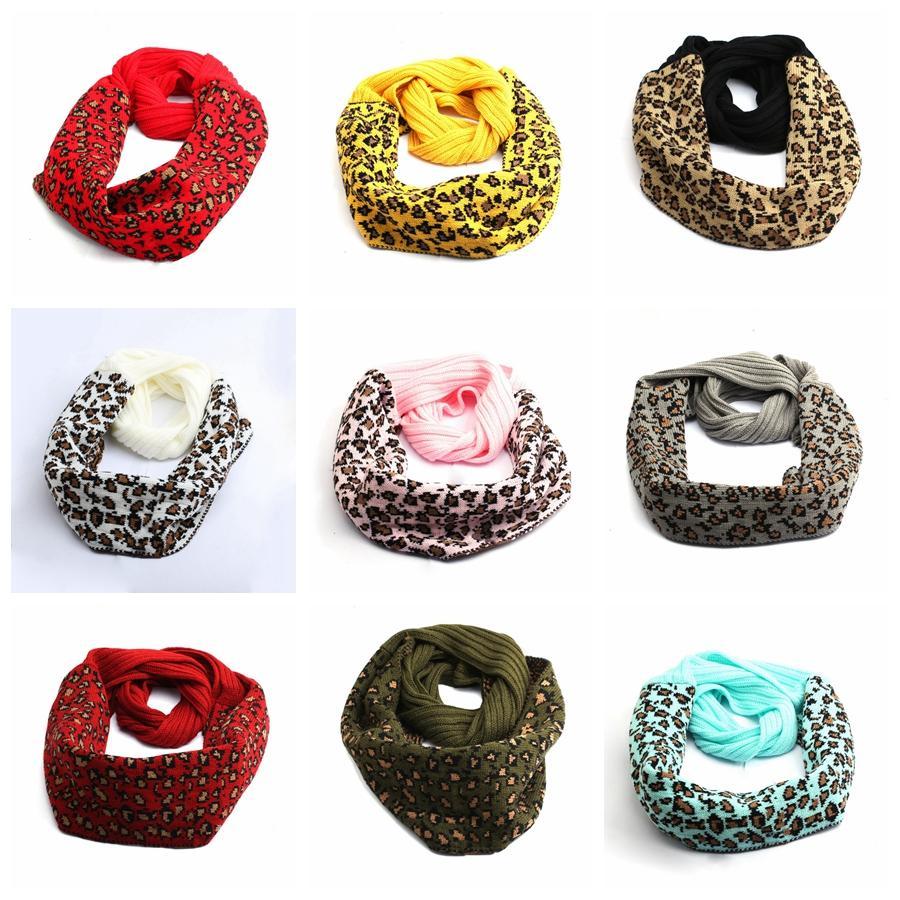 Il nuovo modo stampato leopardo sciarpa lavorata a maglia 9 colori calda inverno Sciarpe esterno della donna morbida lavorata a maglia del collo Sciarpe DDA649