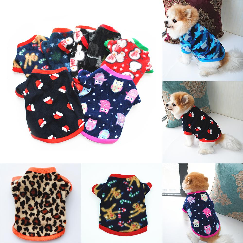 Pet Puppy Clothes Autumn And Winter Polar Fleece Warm Sweater Santa Print Dog Cothes Party Supplies w-00345