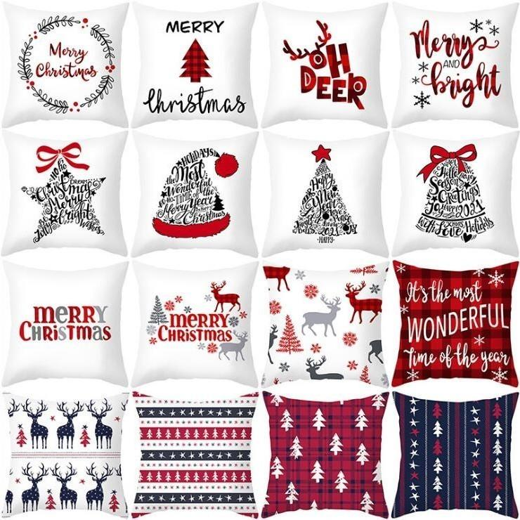 45*45cm Christmas Pillowcase Santa Claus Snowflake Printed Cushion Covers Home Pillow Cover Xmas New Year Sofa Decoration Party DHC2897