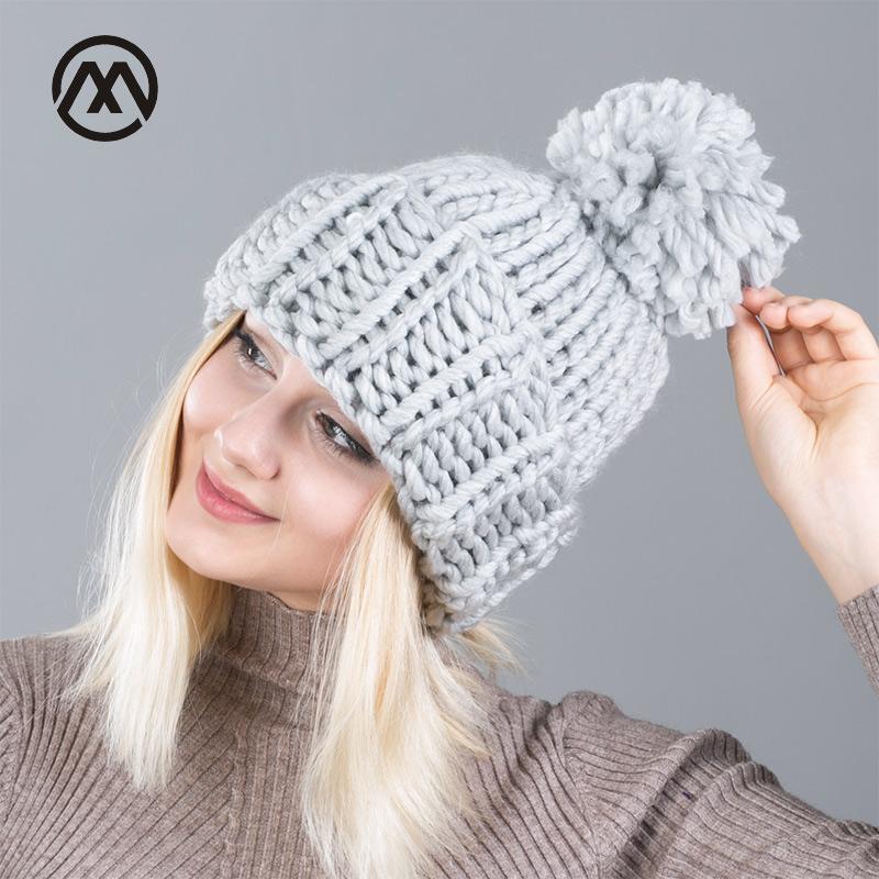 Yün moda Kış Beanies Sıcak Hat Unisex Yumuşak Kafatası Örme Cap Şapka İri İçin Erkekler Kadınlar Crochet Caps Isınma