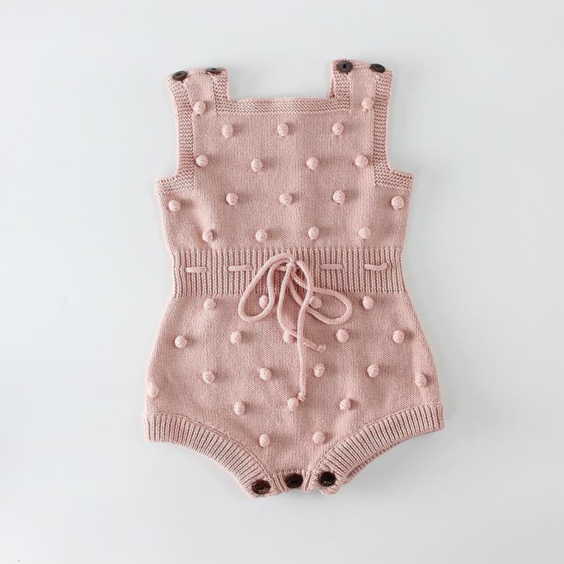 Örme Giysi Yenidoğan Tulum El Yapımı Ponpon Kız Romper 100% Pamuk Bebek Bebek Erkek Tulum Tulum 881 V2