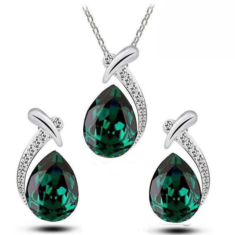 Серьги Ожерелье 2021 Модный Груша Зеленый Синий Красный Цвет Свадебные Для Женщин Леди Юбилей Подарочный Набор J5920
