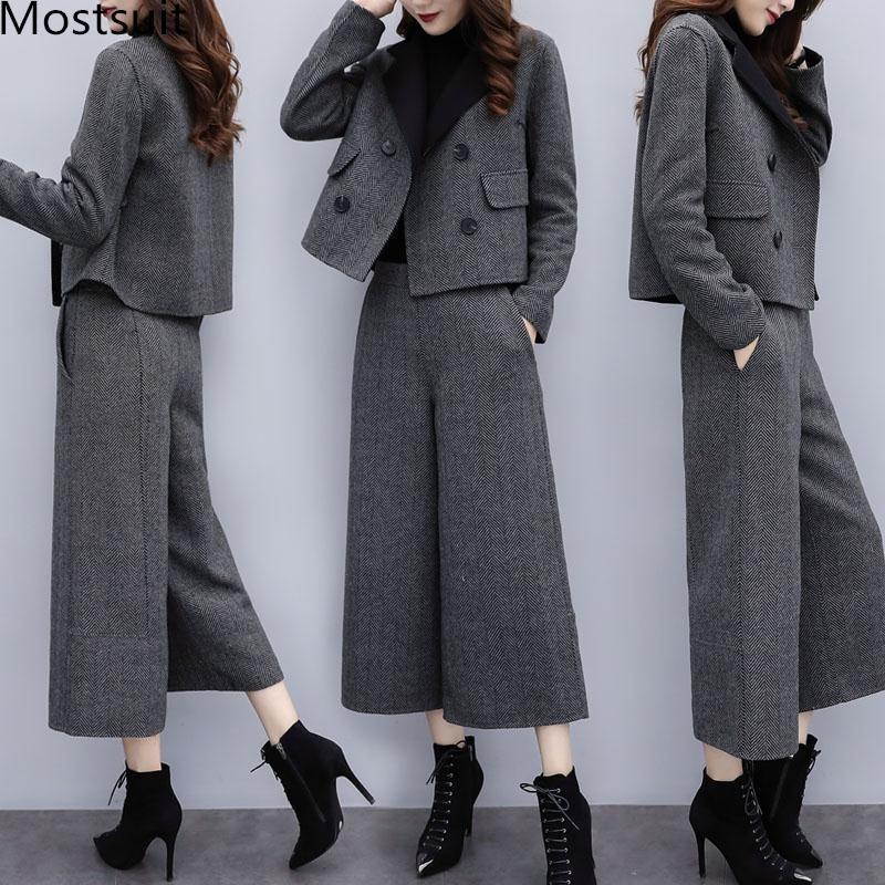 Autunno Inverno di lana due pezzi Set Outfits donne più il bicchierino Cappotto e pantaloni a gamba larga Suits ufficio elegante coreano Set 201008
