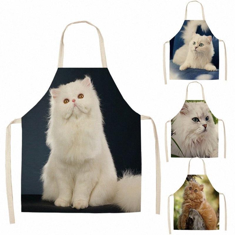 Kadın Sevimli Kedi Baskılı Kolsuz Pamuk Keten Önlükler için 1 Adet Mutfak Önlüğü Ev Temizleme Araçları JQXR # Pişirme İçin