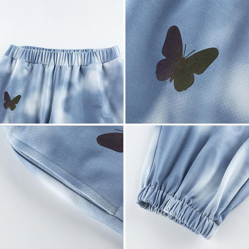 Waatfaak Butterfly Print Women Joggers Trousers Casual Tie Dye Sweatpants Women Blue Baggy Elastic Wasit Harem Pants Streetwear 200930