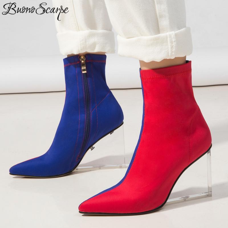 Упругие Ботильоны Женщины Лоскутной прозрачный Женщины Boots Сексуальной молния Короткий Botas Fenimina Ботинес Mujer
