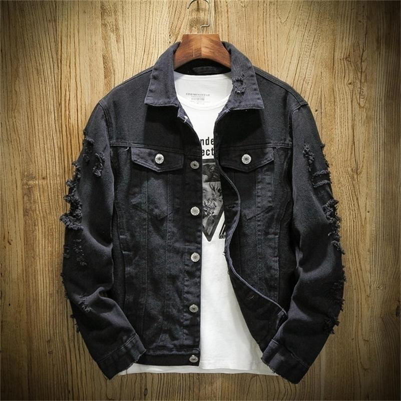 Autunno Spring Plus Size XS-3XL Jeans Jeans Jacks Giacca uomo Stand Collar Casual Moda Vestiti 201127