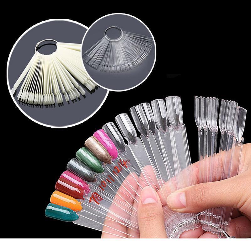 50pcs Natural White False Nail Art Tips Sticks Polish Display Fan Practice Tool Uv Gel Showing Board Nai jllQbs