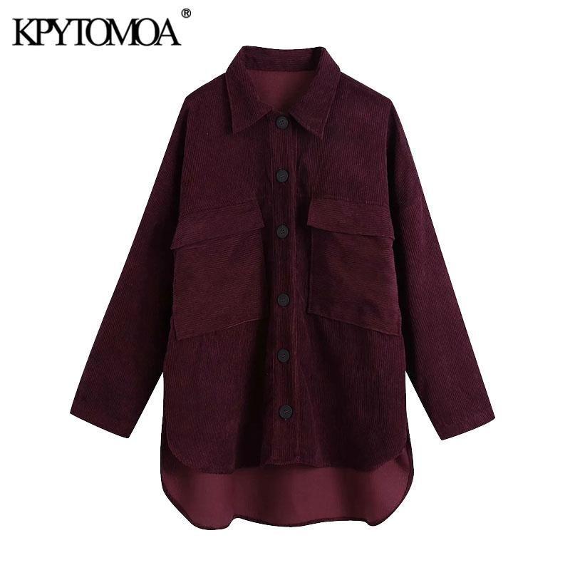 KPYTOMOA Women 2020 Fashion Oversized Asymmetric Corduroy Jacket Coat Vintage Long Sleeve Pockets Female Outerwear Chic Tops