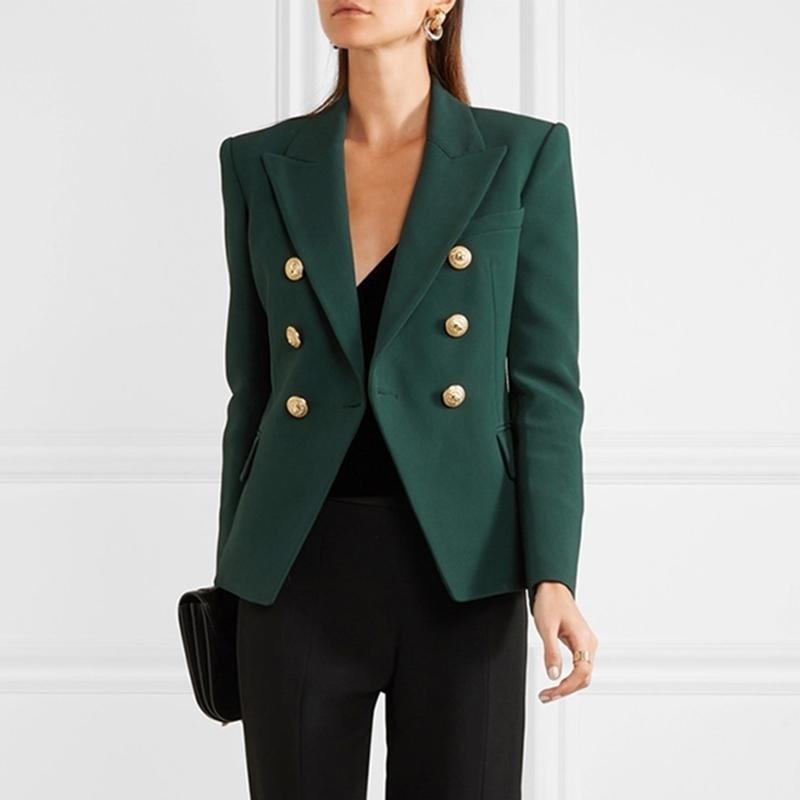 Высокое качество новейший дизайнер Blazer женский длинный рукав двубортные металлические кнопки льва Blazer куртка внешняя темный зеленый 201114