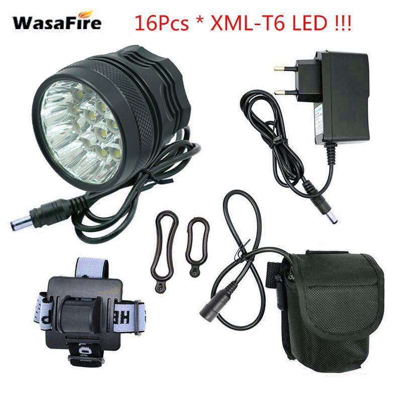 WasaFire 40000lm Bike Light 16*XML-T6 LED Bike lamp +9600mAh battery Bicycle front Light Headlight Riding Cycling Accessories