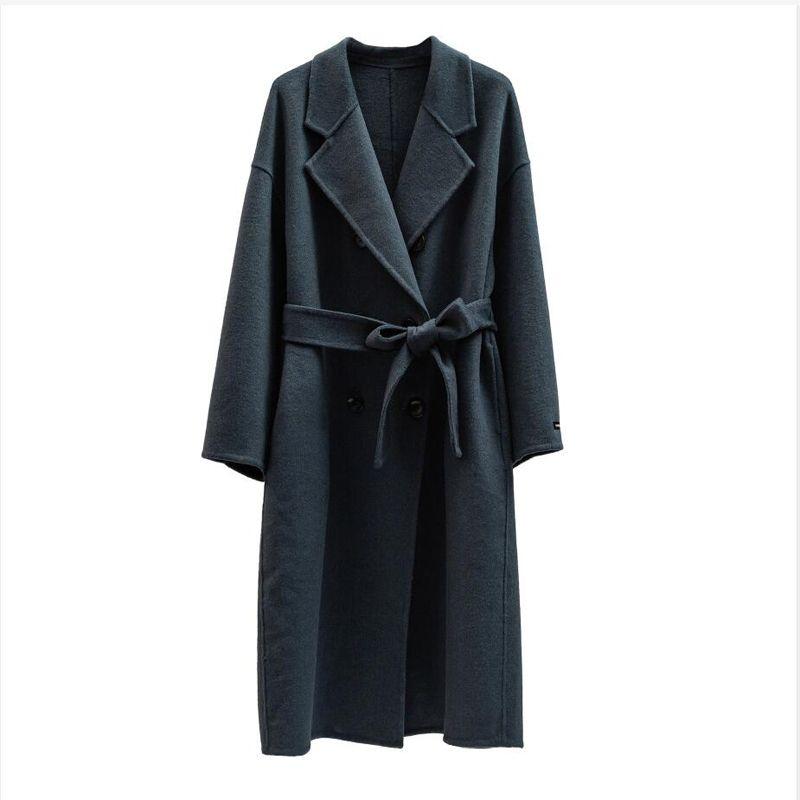 Autunno Inverno cappotto di lana monopetto Maxi cappotto 201009
