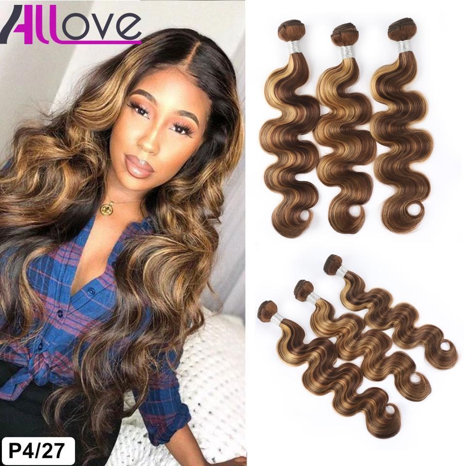 Allove Highlight 4/27 Brazilian Human Hair Bundles Weft Peruvian Body Wave Indian Virgin Hair Extensions Malaysian Two Tone Ombre Color