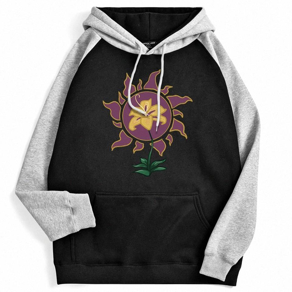 Flor brillar y brillo dibujos animados Imprimir con capucha mujeres Hip Hop Raglan Crewneck Moda Sudadera Otoño Fleece Flojo Hoody Femenina # PK62
