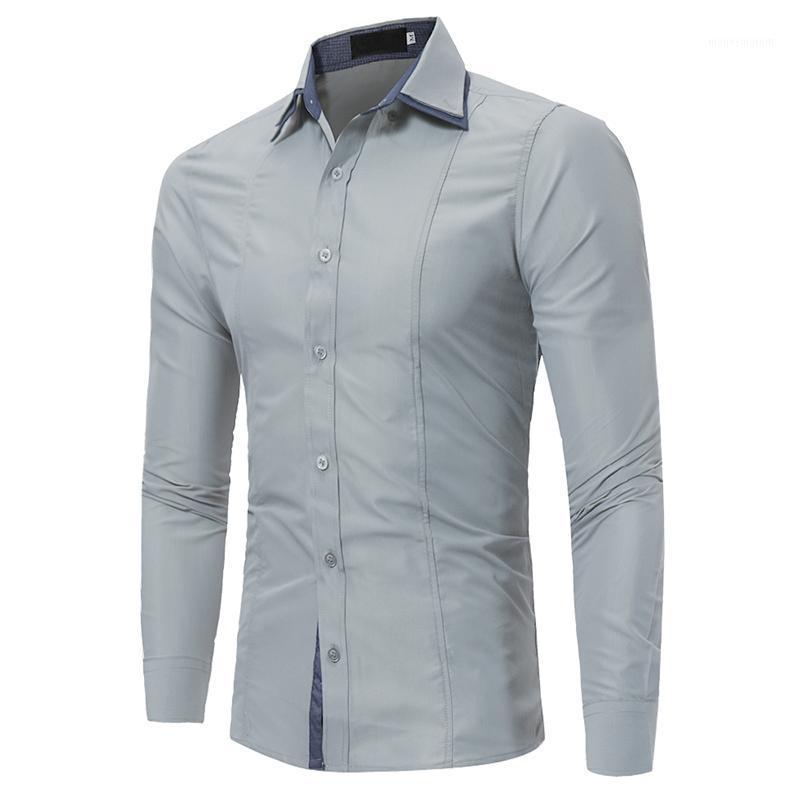 Marca 2020 Moda Camicia maschile A maniche lunghe Top Doppio collo a maniche Collar Patch Casual Mens Dress Shirts Slim Uomo Shirt1