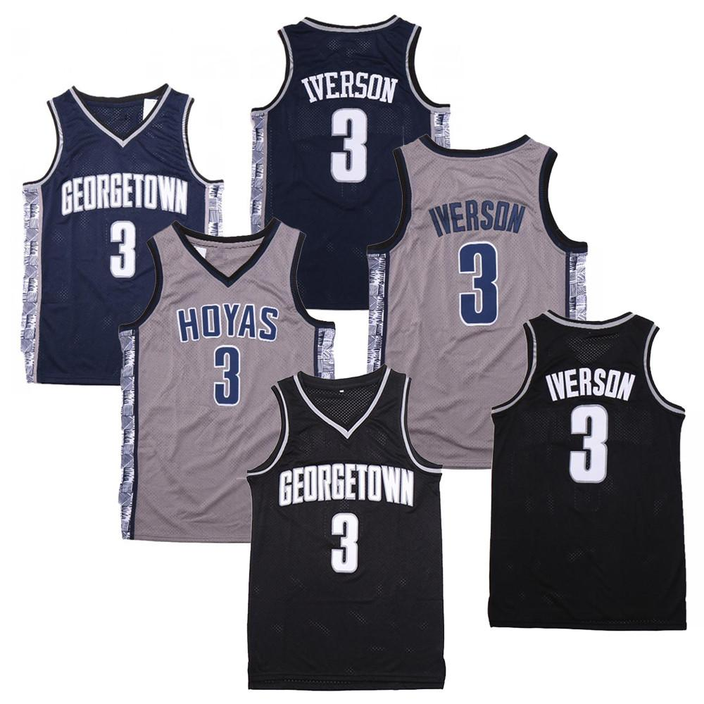 NCAA NCAA 3 Georgetown Hoyas Iverson College Jersey 3 Iverson University Basketball Jerseys Size S-2XL Free Shipping
