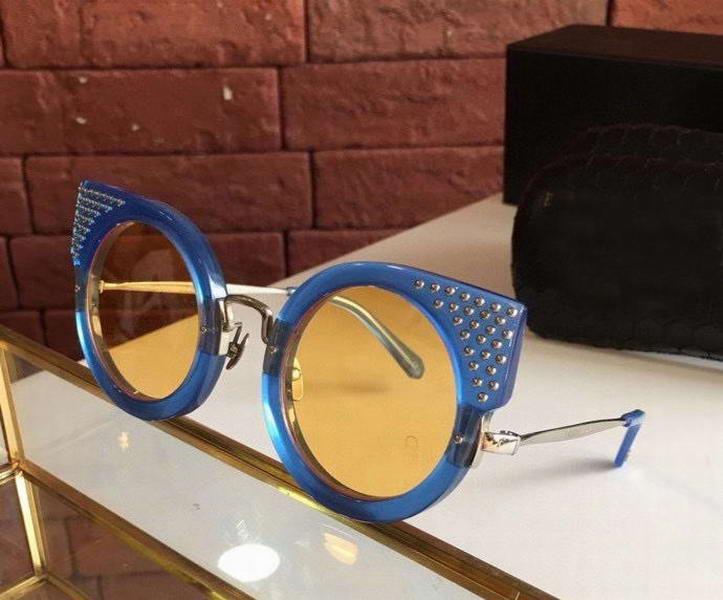 Gafas de sol del ojo de gato Ronda Studed Azul Amarillo gafa de sol de las mujeres frescas Lentes de sol UV400 Sombras nuevo con la caja