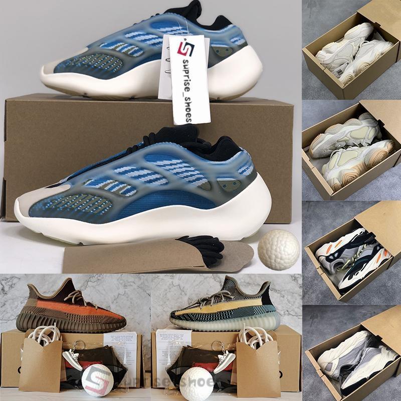 Com Caixa Arzareth Azael Alvah Glow 700 v3 Tênis Kanye West Areia Taupe Cinza Azul Runner Blush 500 Tênis Runing Masculino Tamanho 13