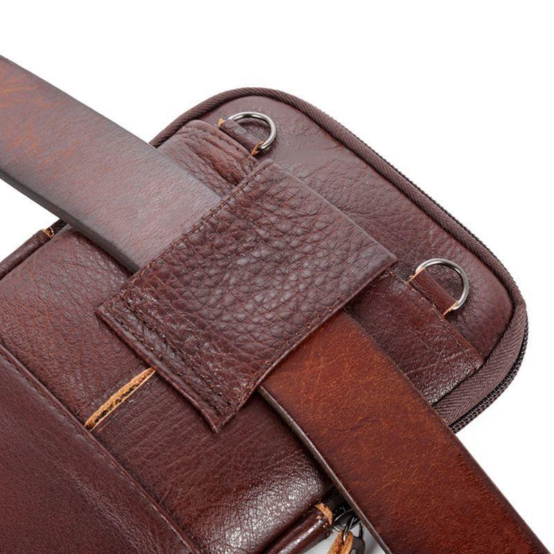Mode en cuir véritable pour hommes Sac de téléphone Pouch Ceinture épaule bandoulière Sac de taille 13 x 21 x 1 cm 201015
