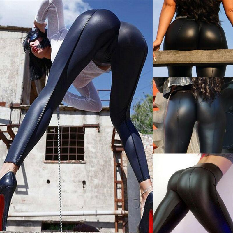 Womens High Waist Slim Stretch Wet Faux Leather Skinny Tight Pants Leggings USA