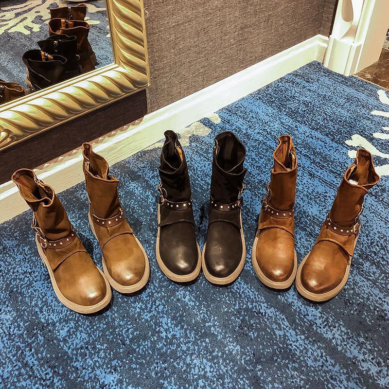 Европа и Америка Осень и зимняя ретро ручной обувь ботинки заклепки пряжки пряжки шить пятка в трубке локомотив